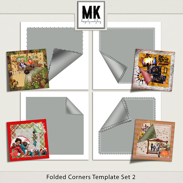 Folded Corners Template Set 2 Digital Art - Digital Scrapbooking Kits