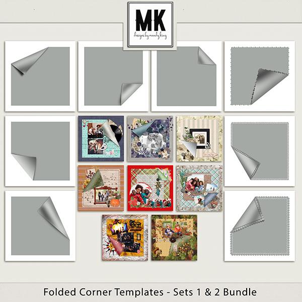 Folded Corners Template Sets 1 & 2 Digital Art - Digital Scrapbooking Kits