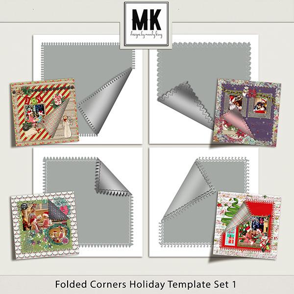 Folded Corner Holiday Templates Set 1 Digital Art - Digital Scrapbooking Kits