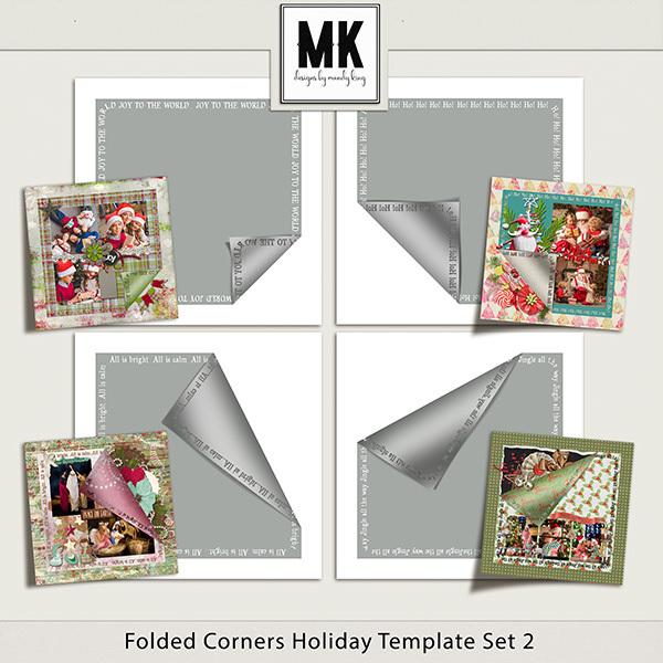 Folded Corner Holiday Templates Set 2 Digital Art - Digital Scrapbooking Kits