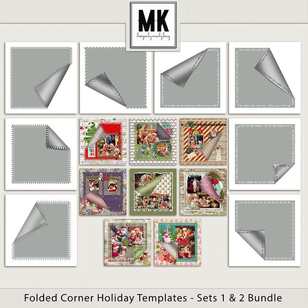 Folded Corner Holiday Templates Sets 1 & 2 Digital Art - Digital Scrapbooking Kits