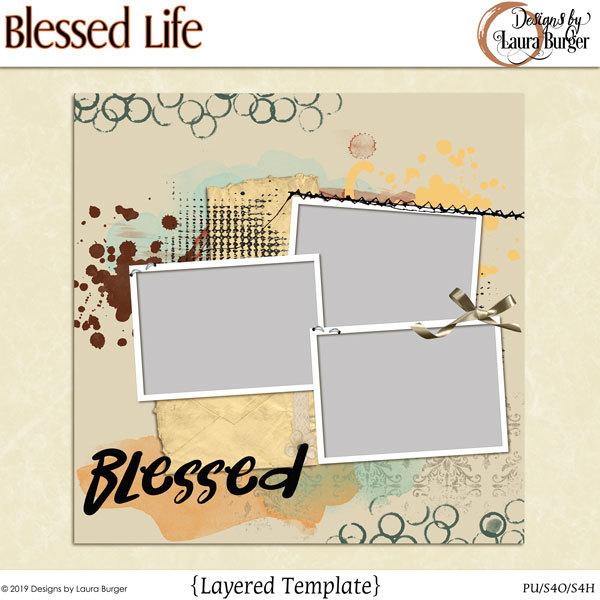 Blessed Life Template Digital Art - Digital Scrapbooking Kits