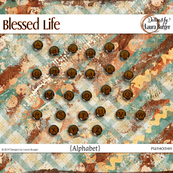Blessed Life Alphabets Digital Art - Digital Scrapbooking Kits