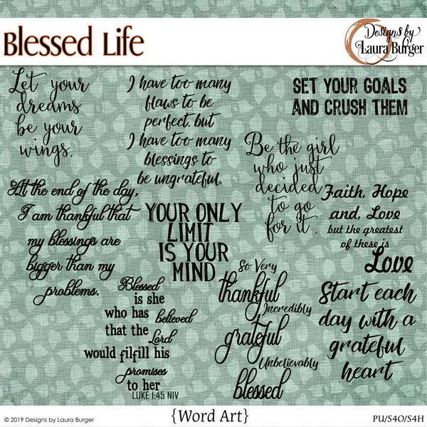 Blessed Life Word Art Digital Art - Digital Scrapbooking Kits