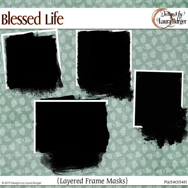 Blessed Life Framed Masks Digital Art - Digital Scrapbooking Kits