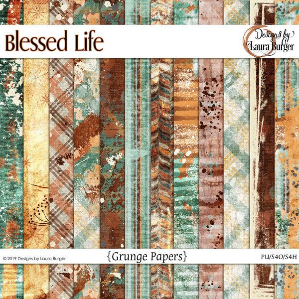 Blessed Life Grunge Papers Digital Art - Digital Scrapbooking Kits