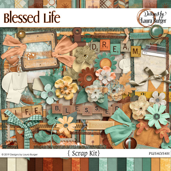 Blessed Life Scrap Kit Digital Art - Digital Scrapbooking Kits