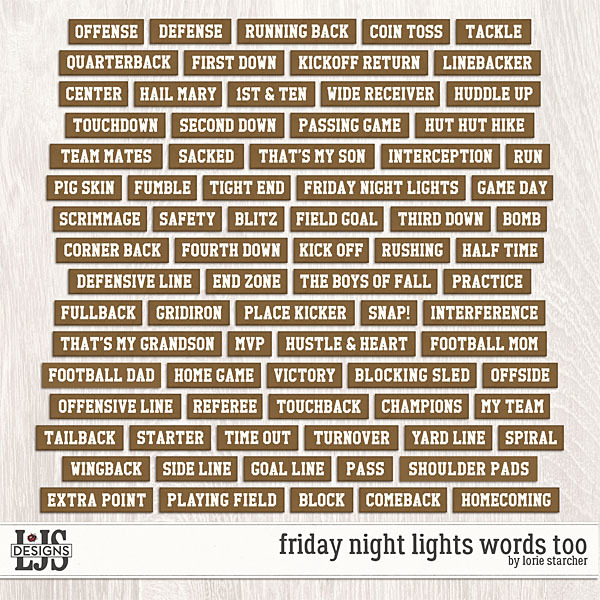 Friday Night Lights Words Too Digital Art - Digital Scrapbooking Kits