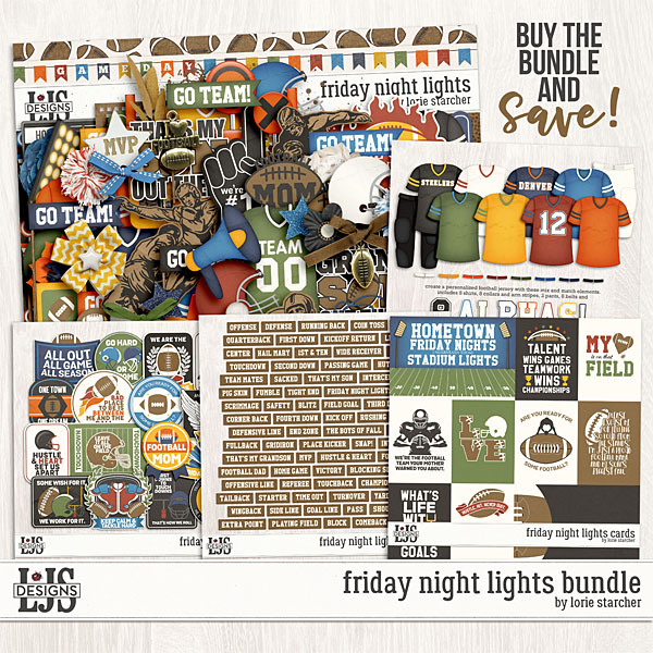 Friday Night Lights Bundle Digital Art - Digital Scrapbooking Kits