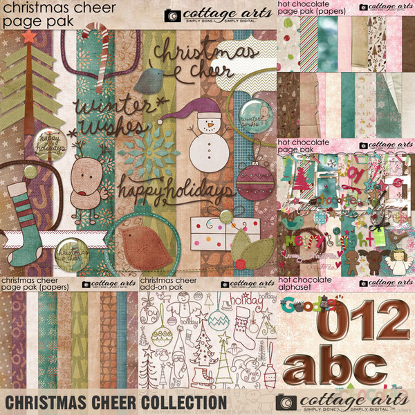Christmas Cheer Collection Digital Art - Digital Scrapbooking Kits