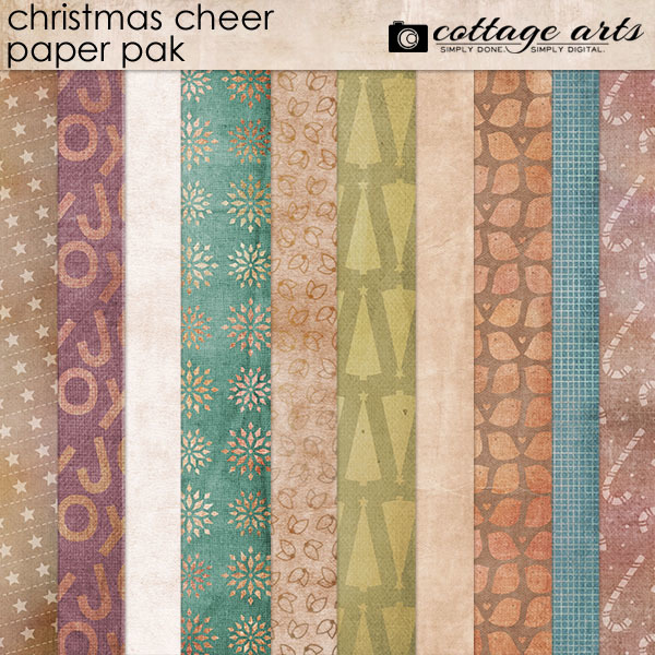 Christmas Cheer Paper Pak Digital Art - Digital Scrapbooking Kits