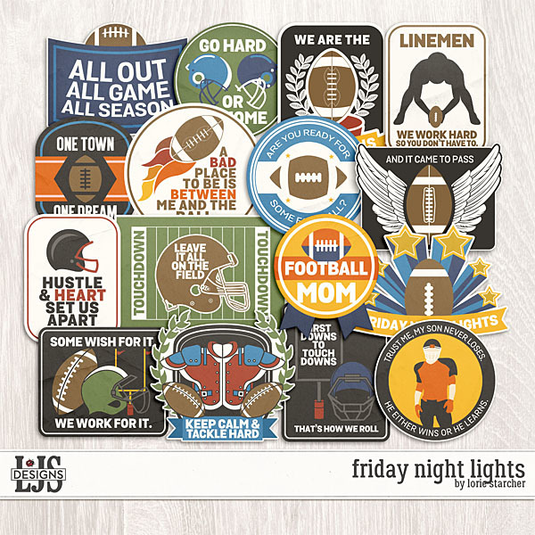 Friday Night Lights Words Digital Art - Digital Scrapbooking Kits