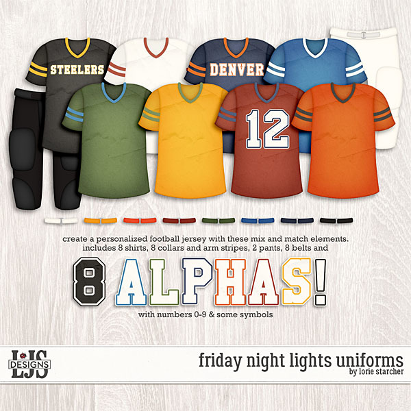 Friday Night Lights Uniforms Digital Art - Digital Scrapbooking Kits