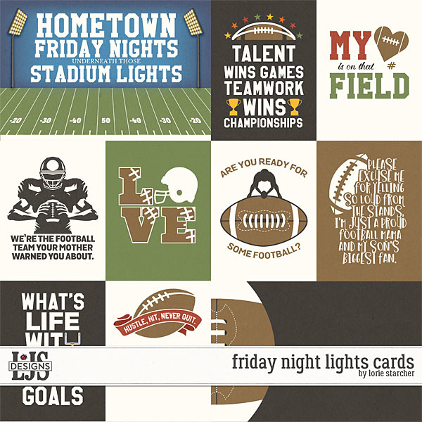 Friday Night Lights Cards Digital Art - Digital Scrapbooking Kits