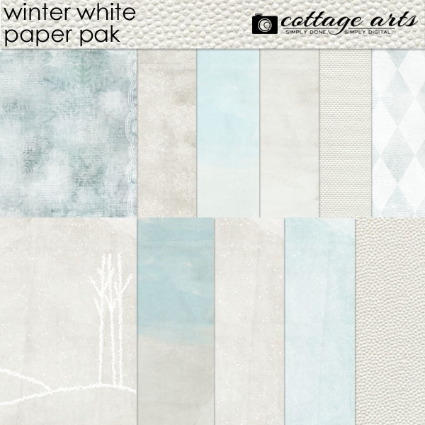 Winter White Paper Pak Digital Art - Digital Scrapbooking Kits