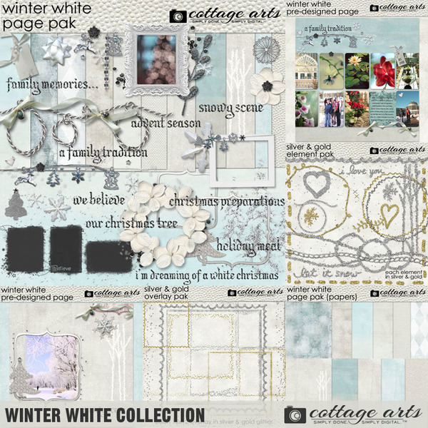 Winter White Collection Digital Art - Digital Scrapbooking Kits