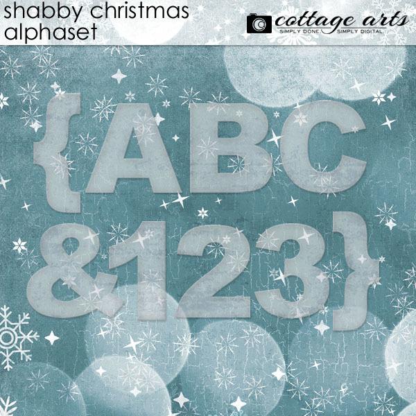 Shabby Christmas AlphaSet Digital Art - Digital Scrapbooking Kits