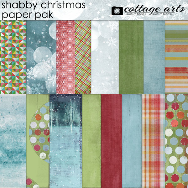 Shabby Christmas Paper Pak Digital Art - Digital Scrapbooking Kits