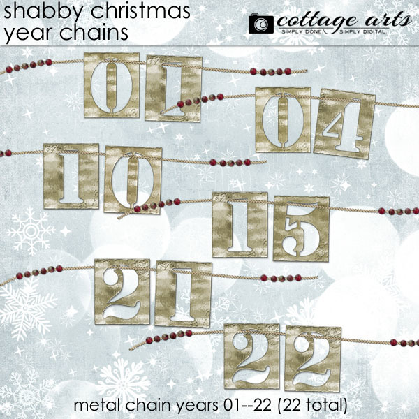 Shabby Christmas Year Chains Digital Art - Digital Scrapbooking Kits