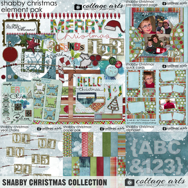 Shabby Christmas Collection Digital Art - Digital Scrapbooking Kits