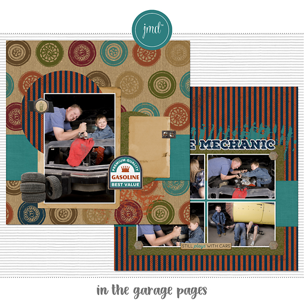 In the Garage Pages Digital Art - Digital Scrapbooking Kits