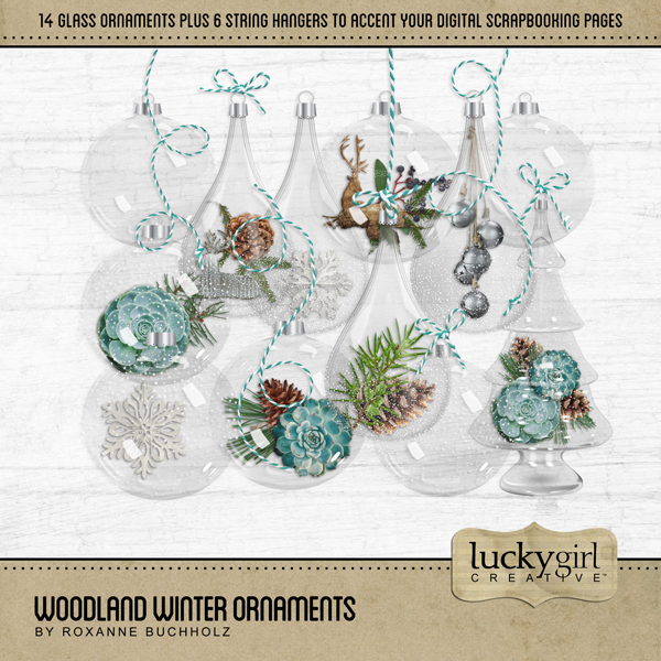 Woodland Winter Ornaments Digital Art - Digital Scrapbooking Kits