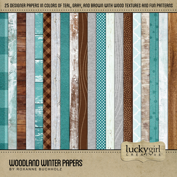 Woodland Winter Papers Digital Art - Digital Scrapbooking Kits