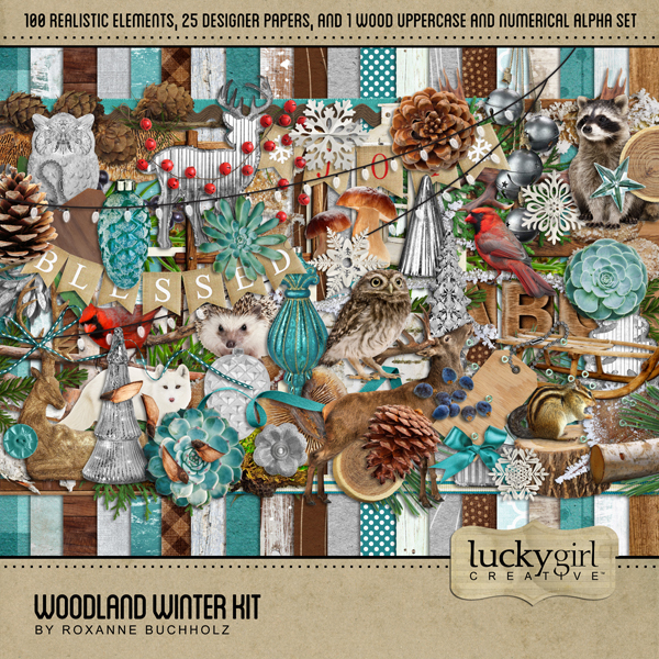 Woodland Winter Kit Digital Art - Digital Scrapbooking Kits