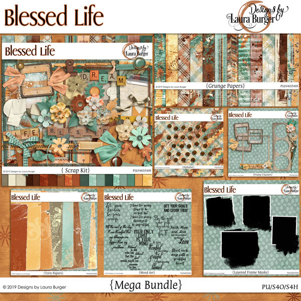 Blessed Life Mega Bundle Digital Art - Digital Scrapbooking Kits