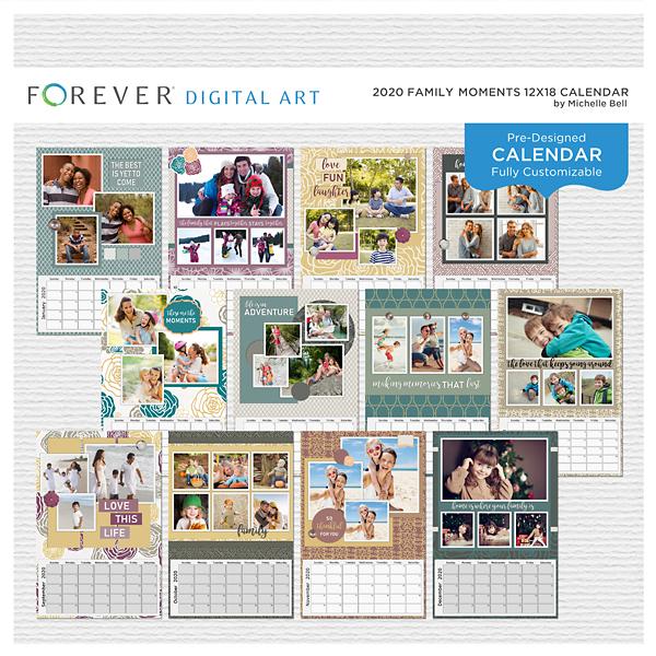 2020 Family Moments 12x18 Calendar Digital Art - Digital Scrapbooking Kits