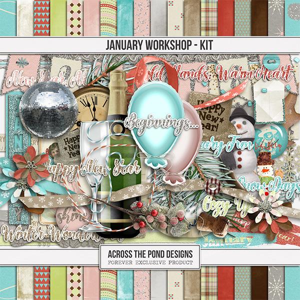January Workshop - Page Kit Digital Art - Digital Scrapbooking Kits