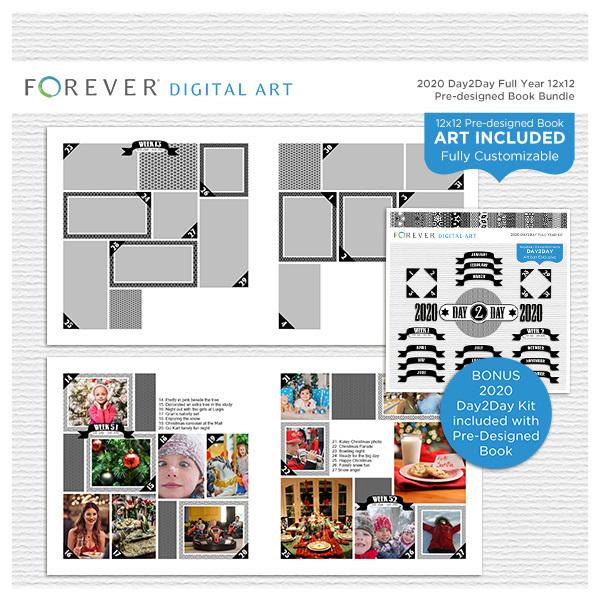 2020 Day2Day Full Year 12x12 Pre-designed Book Bundle Digital Art - Digital Scrapbooking Kits