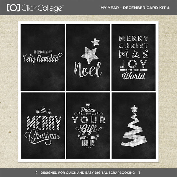 My Year - December Card Kit 4 Digital Art - Digital Scrapbooking Kits