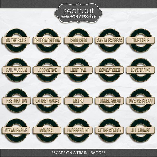 Escape on a Train Badges Digital Art - Digital Scrapbooking Kits