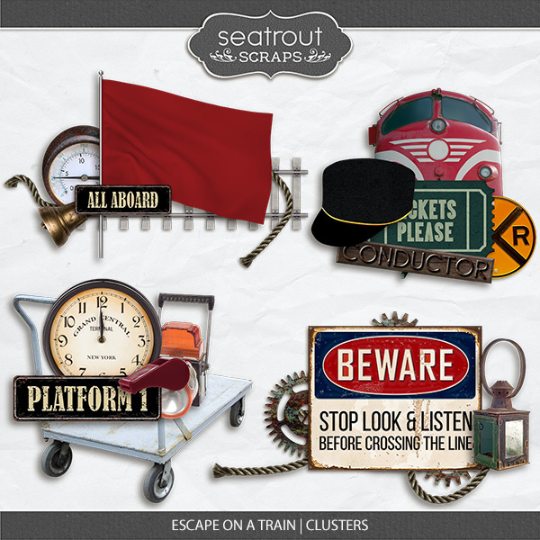 Escape on a Train Clusters Digital Art - Digital Scrapbooking Kits
