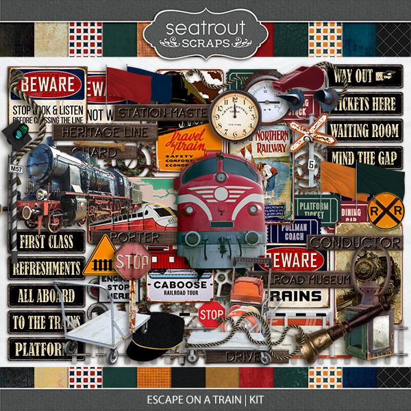 Escape on a Train Kit Digital Art - Digital Scrapbooking Kits