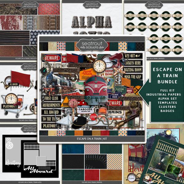 Escape on a Train Bundle Digital Art - Digital Scrapbooking Kits