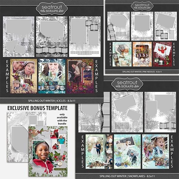 Spilling Out Winter 8.5x11 Bonus Bundle Digital Art - Digital Scrapbooking Kits