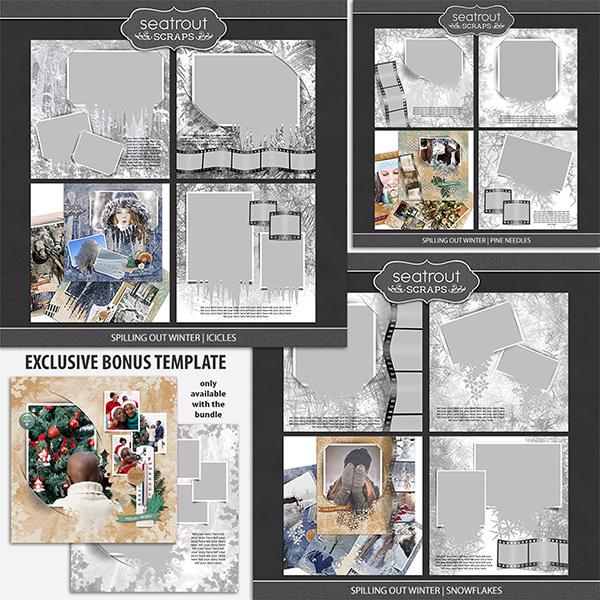 Spilling Out Winter 12x12 Bonus Bundle Digital Art - Digital Scrapbooking Kits