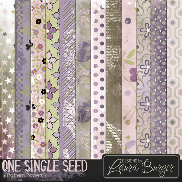 One Single Seed Pattern Papers Digital Art - Digital Scrapbooking Kits