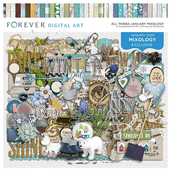 All Things January Mixology Digital Art - Digital Scrapbooking Kits