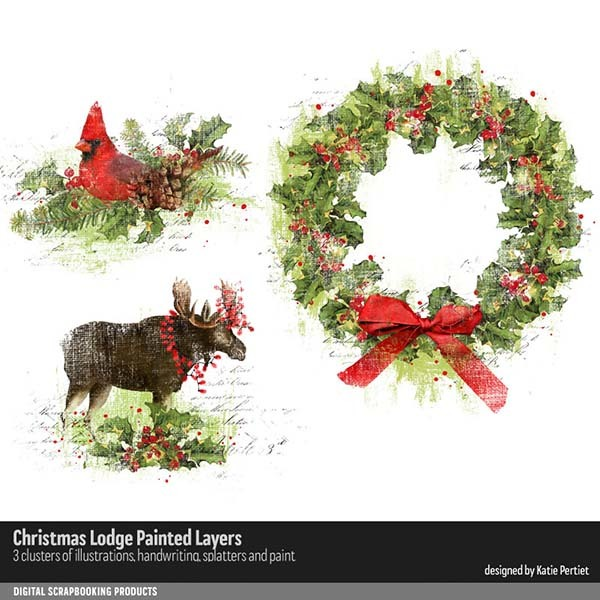 Christmas Lodge Painted Layers Digital Art - Digital Scrapbooking Kits