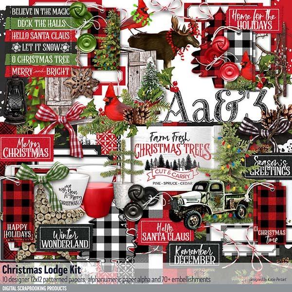 Christmas Lodge Scrapbooking Kit Digital Art - Digital Scrapbooking Kits