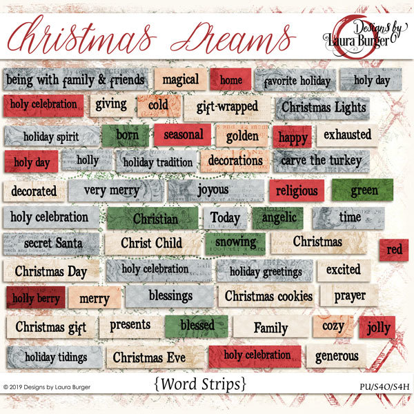 Christmas Dreams Words Digital Art - Digital Scrapbooking Kits