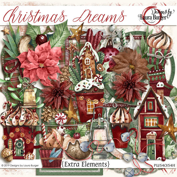 Christmas Dreams Extra Elements Digital Art - Digital Scrapbooking Kits