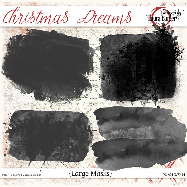 Christmas Dreams Masks Digital Art - Digital Scrapbooking Kits