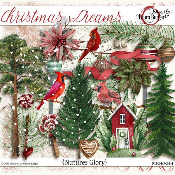 Christmas Dreams Nature Elements Digital Art - Digital Scrapbooking Kits