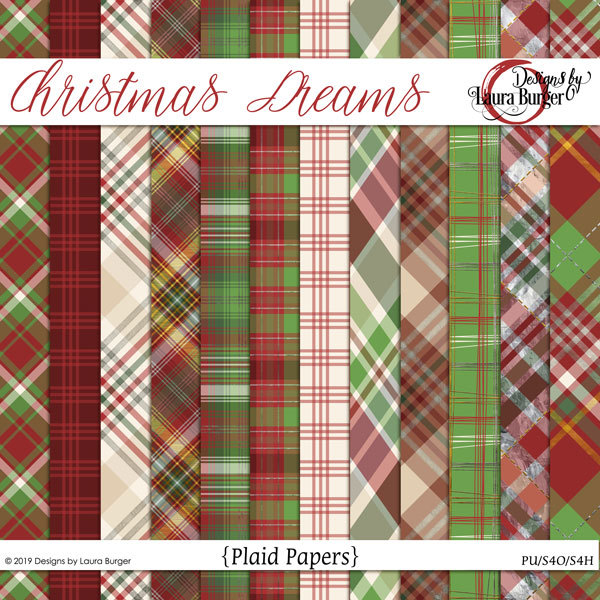 Christmas Dreams Plaid Papers Digital Art - Digital Scrapbooking Kits