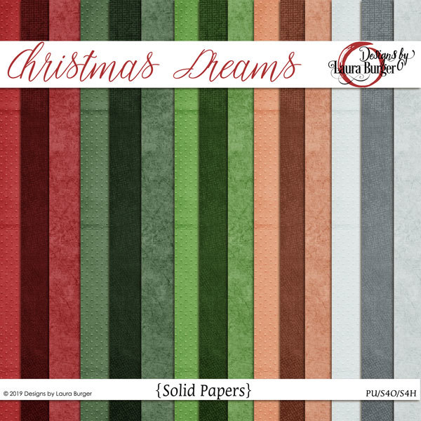 Christmas Dreams Solid Papers Digital Art - Digital Scrapbooking Kits