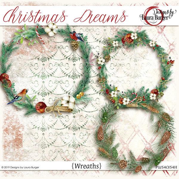 Christmas Dreams Wreathes Digital Art - Digital Scrapbooking Kits